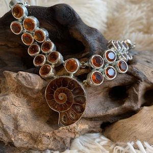 Real AMMONITE Opalescent Fossil silver necklace